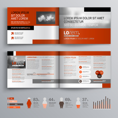 magazine template: Classic brochure template design with gray and red shapes. Cover layout and infographics