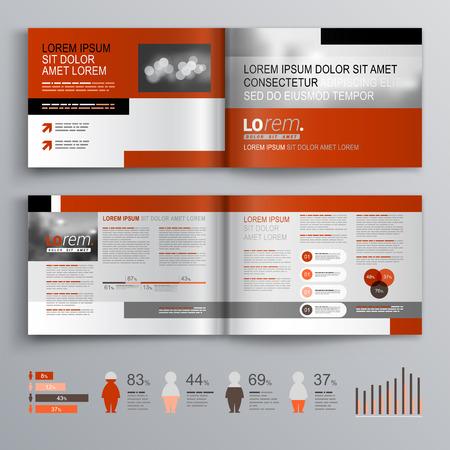 folleto: Diseño del modelo del folleto clásico con formas grises y rojos. El diseño de la cubierta y la infografía