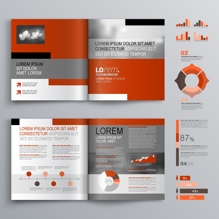 catalog background: Classic brochure template design with gray and red shapes. Cover layout and infographics