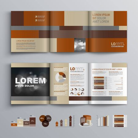 brochure template: Brown brochure template design with square shapes. Cover layout and infographics Illustration
