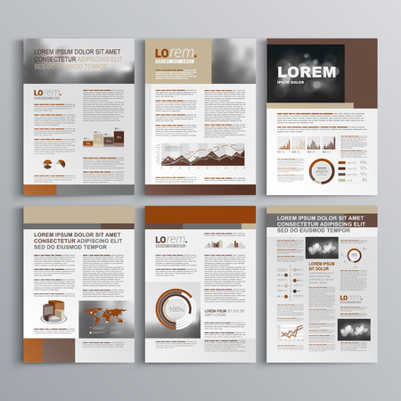 magazine layout design template: Brown brochure template design with square shapes. Cover layout and infographics Illustration