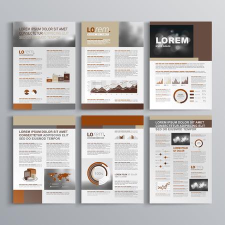 folleto: Dise�o del modelo del folleto de Brown con formas cuadradas. Dise�o de la cubierta y la infograf�a