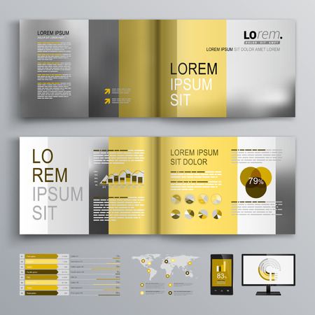 Classic brochure template design with yellow and gray shapes. Cover layout and infographics Иллюстрация