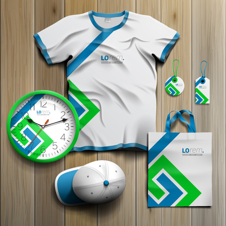 White promotional souvenirs design for corporate identity with blue and green geometric elements. Stationery set