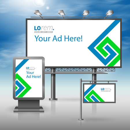 outdoor advertising: White outdoor advertising design for corporate identity with blue and green geometric elements. Stationery set Illustration