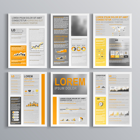 catalog background: Classic brochure template design with yellow, orange and gray shapes. Cover layout and infographics