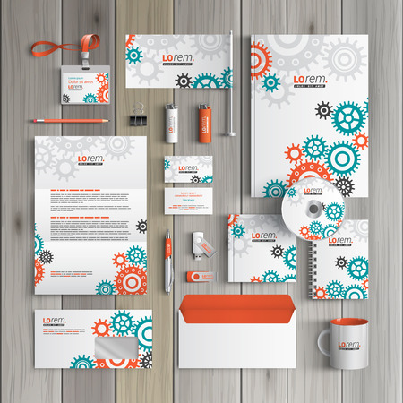 rackwheel: White mechanical corporate identity template design with red and green mechanism. Business stationery