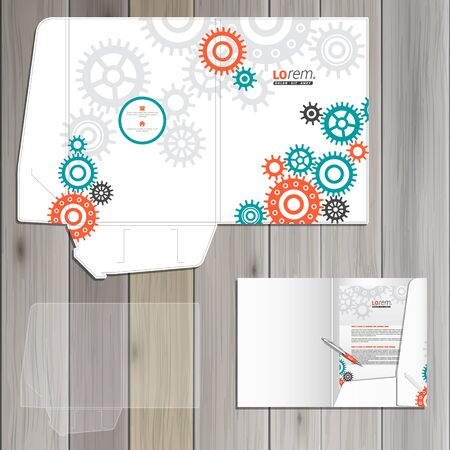 rackwheel: White mechanical folder template design for corporate identity with red and green mechanism. Stationery set Illustration