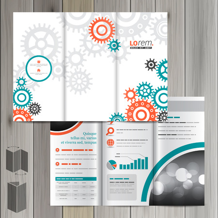 rackwheel: White mechanical brochure template design with red and green mechanism. Cover layout Illustration