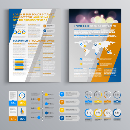 business flyer: Blue brochure template design with yellow and gray diagonal shapes. Cover layout and infographics Illustration