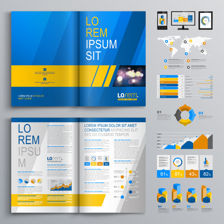 Blue brochure template design with yellow and gray diagonal shapes. Cover layout and infographics Ilustração