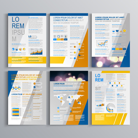 Blue brochure template design with yellow and gray diagonal shapes. Cover layout and infographics Illustration
