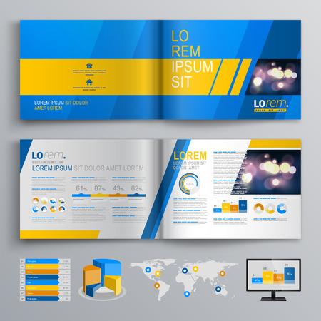 黄色とグレーの斜めの図形と青いパンフレット テンプレート デザイン。レイアウトとインフォ グラフィックをカバーします。