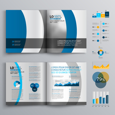 business flyer: Brochure template design with blue and gray round shapes. Cover layout and infographics