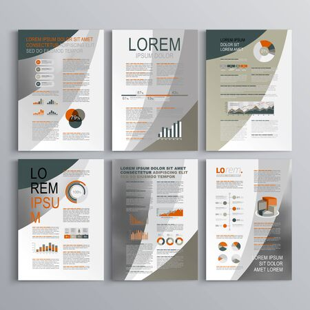 brochure background: Classic brochure template design with three color round shapes. Cover layout and infographics