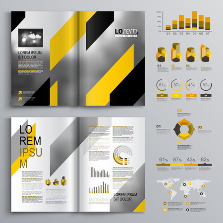 flyer design: Classic gray brochure template design with black and yellow diagonal shapes. Cover layout and infographics