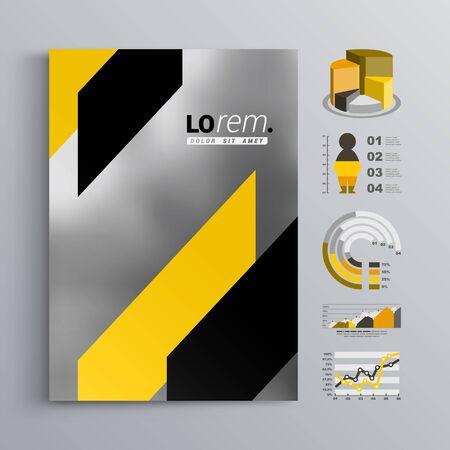 amarillo y negro: Diseño gris clásico plantilla de folleto con formas diagonales negras y amarillas. El diseño de la cubierta y la infografía Vectores