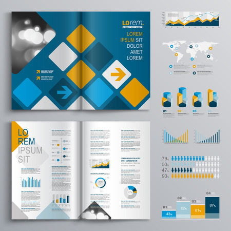 business presentation: Blue brochure template design with square pattern. Cover layout and infographics