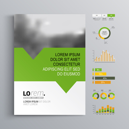 design layout: White brochure template design with green, orange and yellow shapes. Cover layout and infographics