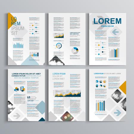 正方形のパターンで青いパンフレット テンプレート デザイン。レイアウトとインフォ グラフィックをカバーします。