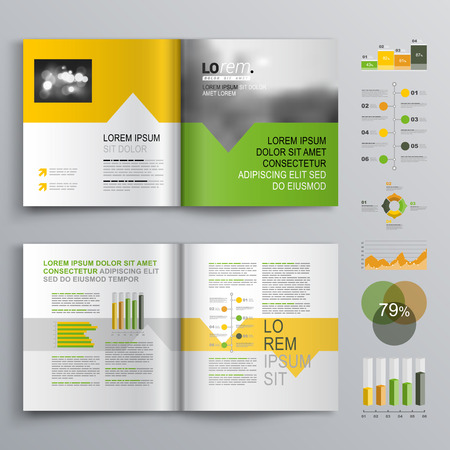 headline: White brochure template design with green, orange and yellow shapes. Cover layout and infographics