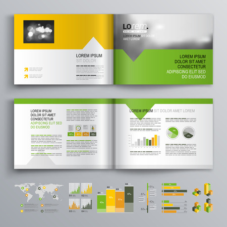 White brochure template design with green, orange and yellow shapes. Cover layout and infographics