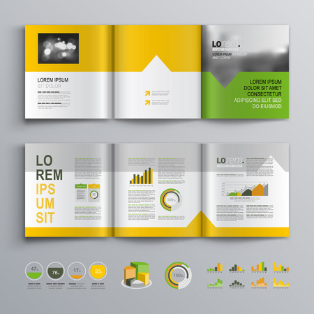 editable: White brochure template design with green, orange and yellow shapes. Cover layout and infographics