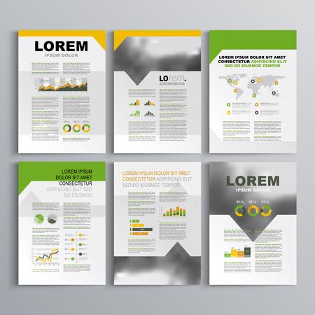 緑、オレンジと黄色の形状と白いパンフレット テンプレート デザイン。レイアウトとインフォ グラフィックをカバーします。  イラスト・ベクター素材