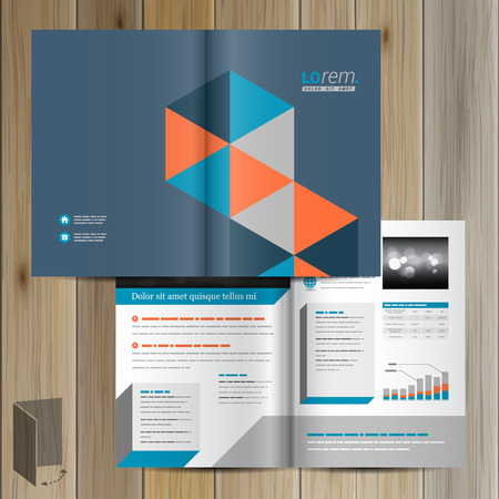 design template: Blue brochure template design with geometric pattern. Cover layout Illustration