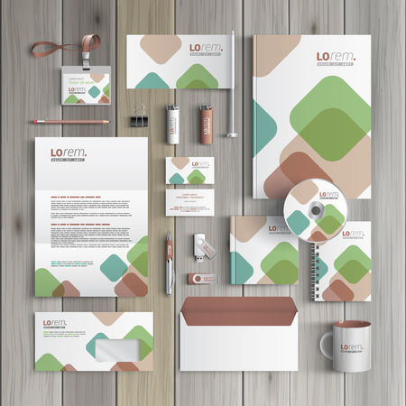 stationary set: White corporate identity template design with color square elements. Business stationery
