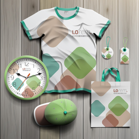 souvenirs: White promotional souvenirs design for corporate identity with color square elements. Stationery set