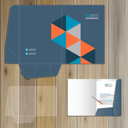 folders: Blue folder template design for corporate identity with geometric pattern. Stationery set Illustration