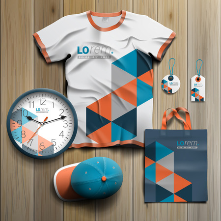 souvenirs: Blue promotional souvenirs design for corporate identity with geometric pattern. Stationery set Illustration