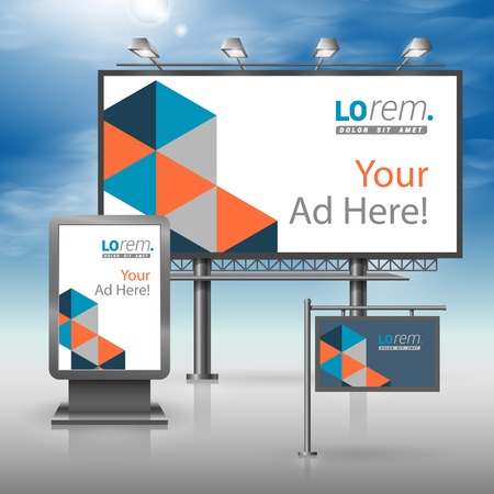 blue signage: Blue outdoor advertising design for corporate identity with geometric pattern. Stationery set