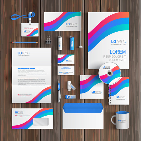 folders: White corporate identity template design with blue and red stripes. Business stationery