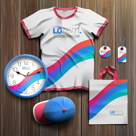 souvenirs: White promotional souvenirs design for corporate identity with blue and red stripes. Stationery set Illustration