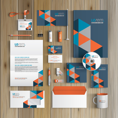 Blue corporate identity template design with geometric pattern. Business stationery Ilustração
