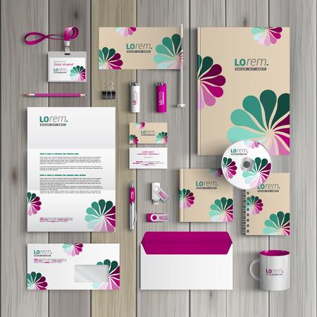花を持つヴィンテージ コーポレートアイデンティティ テンプレート デザイン。業務用便箋