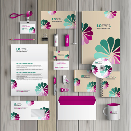 Vintage corporate identity template design with flowers. Business stationery