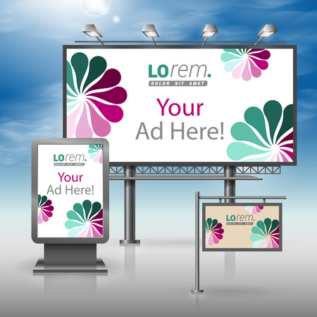 outdoor advertising: Vintage outdoor advertising design for corporate identity with flowers. Stationery set
