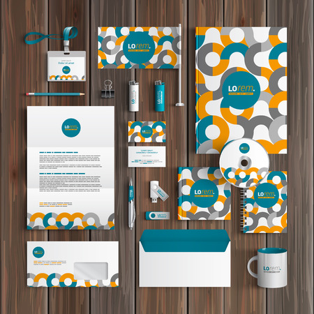 pattern corporate identity orange: White corporate identity template design with orange and blue round pattern. Business stationery