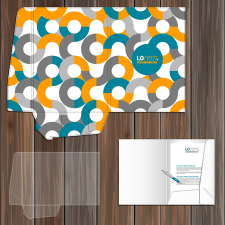 pattern corporate identity orange: White folder template design for corporate identity with orange and blue round pattern. Stationery set Illustration