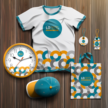 souvenir: White promotional souvenirs design for corporate identity with orange and blue round pattern. Stationery set Illustration