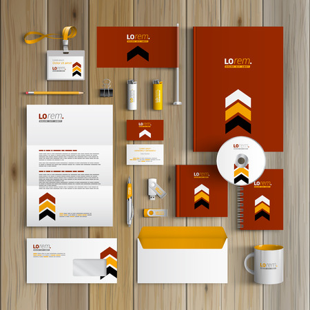 black and red: Red classic corporate identity template design with black and yellow arrows. Business stationery