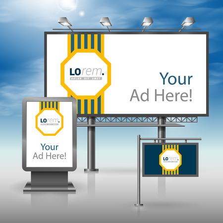 letreros: diseño publicitario clásico azul al aire libre para la identidad corporativa con el elemento central de rayas amarillas. montaje de papelería Vectores