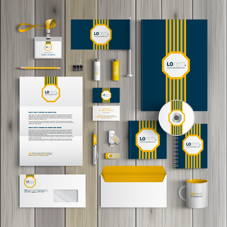 stationary set: Classic blue corporate identity template design with central yellow striped element. Business stationery
