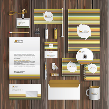 natural color: Floral corporate identity template design with strips of natural color. Business stationery Illustration