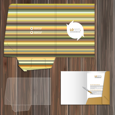 natural color: Floral folder template design for corporate identity with strips of natural color. Stationery set