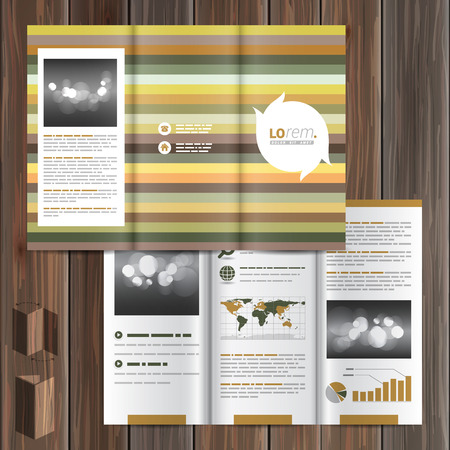 natural color: Floral brochure template design with strips of natural color. Cover layout Illustration