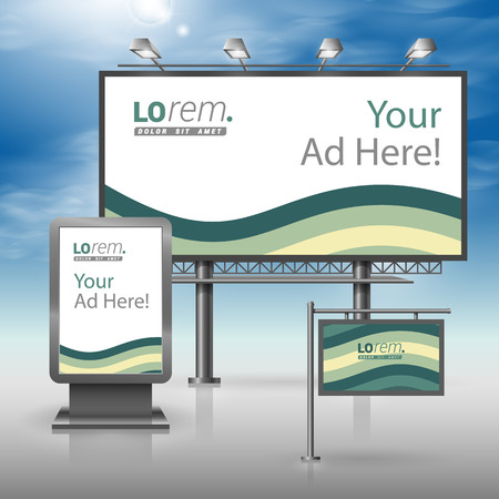 outdoor advertising: Green outdoor advertising design for corporate identity with waves. Stationery set Illustration